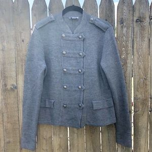 LOFT Military Grey Wool Blend Sweater Jacket Large